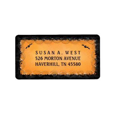 Halloween Themed Address Label - Halloween Orange with Black Border