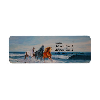 Address Label, Horses in the surf Label