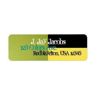 Address Label Midnight Black, Bright Yellow, Green