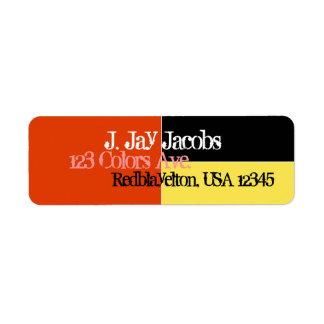 Address Label Midnight Black, Bright Yellow, Red