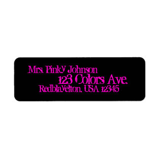 Address Label Midnight Black, Hot Pink