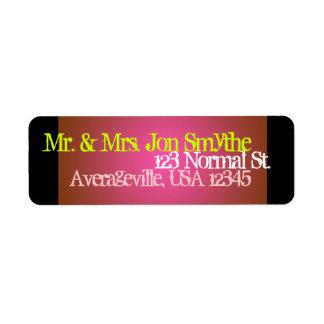 Address Label Monogrammed Hot Pink Black Solids