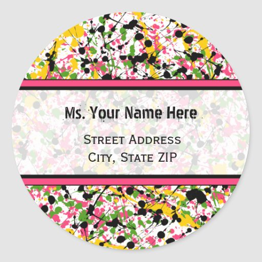 Address Label - Multicolor Paint Splatter Classic Round Sticker