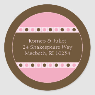 Address Label - Pink and Brown Classic Round Sticker