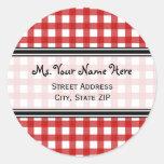 Address Label - Red Gingham Sticker