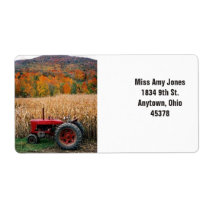 Address label, return, fall trees, tractor. label