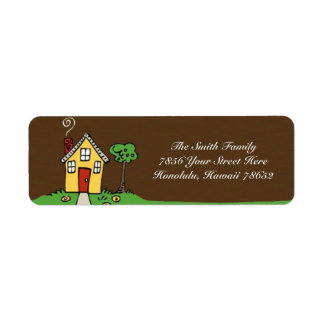 Address label with House and grass