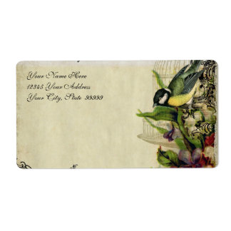 Address Label Yellow Song Bird Cage Floral