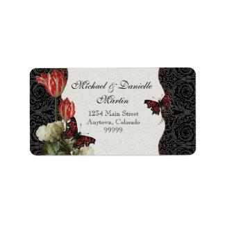Address Labels - Black n Cream Red Tulip Damask
