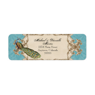 Address Labels - Blue Vintage Peacock & Etchings