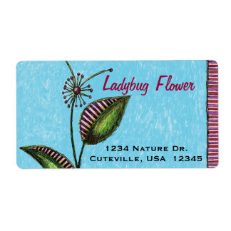 Address Labels, Flower with Ladybug and Mushrooms Shipping Label