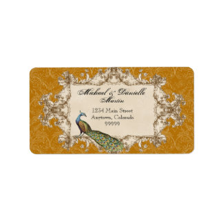 Address Labels - Gold Vintage Peacock & Etchings