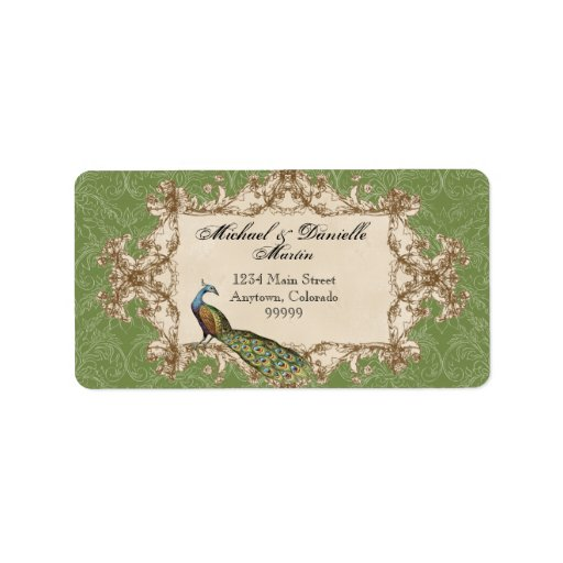 Address Labels - Green Vintage Peacock & Etchings