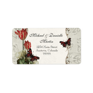 Address Labels - Grey n Cream Red Tulip Damask
