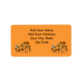 Address Labels orange Daisies on orange