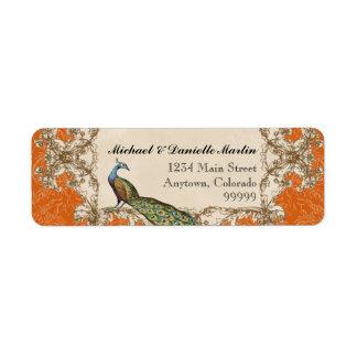 Address Labels - Orange Vintage Peacock & Etchings