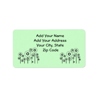 Address Labels, pale green Daisies on pale green