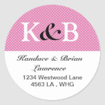 Address Labels Pink and black Classic Round Sticker