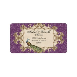 Address Labels - Purple Vintage Peacock & Etchings