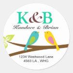 Address Labels two little birdies Classic Round Sticker