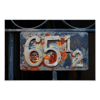 Address Number Plaque, Sixty-five and a Half Poster