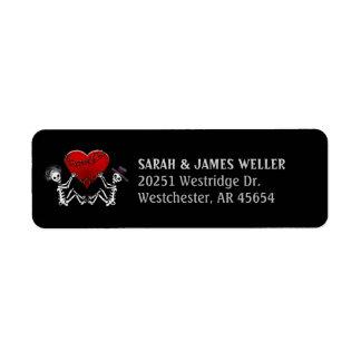 Address Return Label - Skeletons with Red Heart