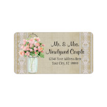 Address Rustic Country Mason Jar Blush Pink Roses Label