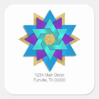 Address Star Flower Turquoise Blue Purple Aqua Square Sticker