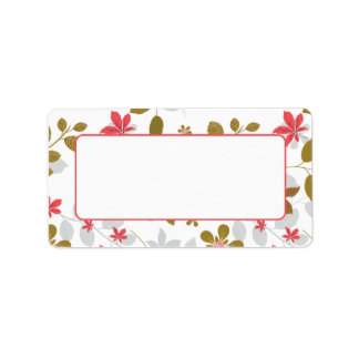 Address Stickers Red Brown Leaves Address Label