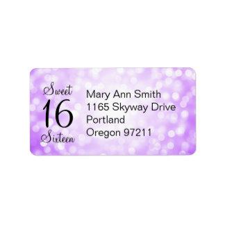 Address Sweet 16 Birthday Purple Glitter Lights Label