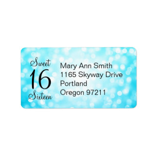 Address Sweet 16 Birthday Turquoise Glitter Lights Label