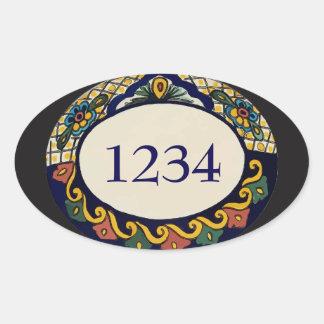 Address Tile add numbers Oval Sticker