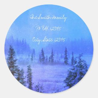 Address Tundra Trees Round Sticker