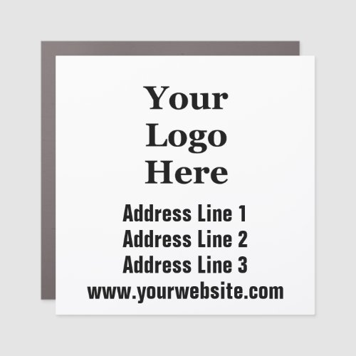 Address Website and Add Your Logo Car Magnet