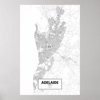 Adelaide, Australia (negro en blanco) Póster