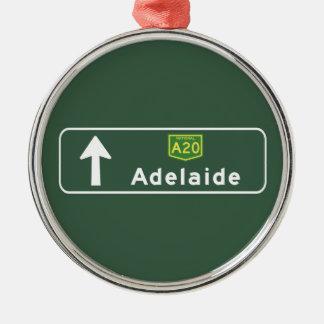 Adelaide, Australia Road Sign Metal Ornament