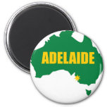 Adelaide Green and Gold Map 2 Inch Round Magnet