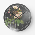 Adelaide Rose on Black Round Clocks