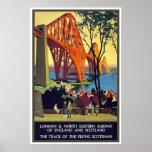 Adelante el poster del viaje del vintage del puent