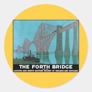 Adelante el puente - ferrocarril del noreste pegatina redonda