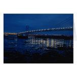 Adelante puente del camino, noche felicitación