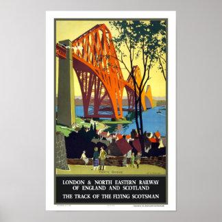 Adelante puente, Scotsman del vuelo de Escocia Póster