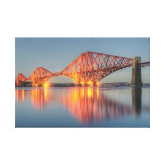 Adelante puesta del sol del puente impresión en lona