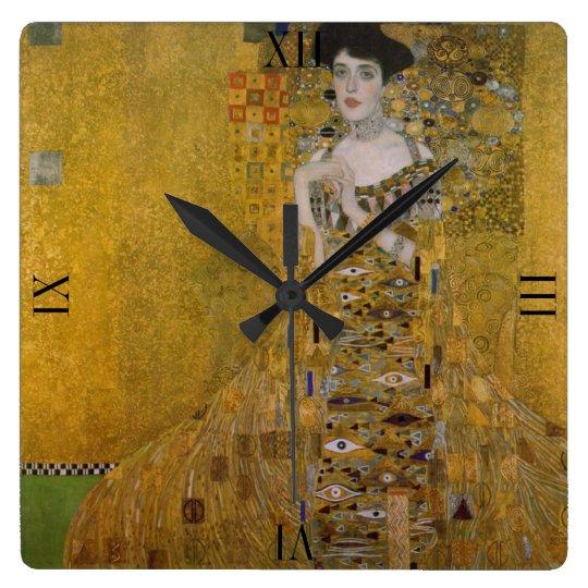 Adele Bloch Bauer by Gustav Klimt Square Wall Clock