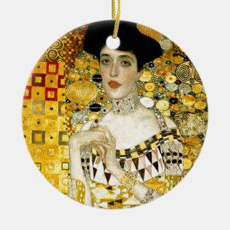 Adele Bloch-Bauer I by Gustav Klimt Art Nouveau Double-Sided Ceramic Round Christmas Ornament