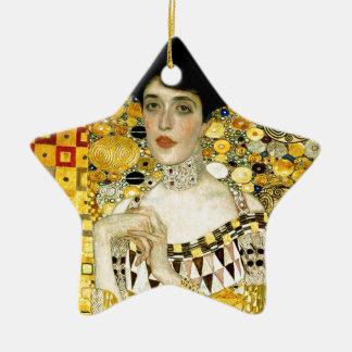 Adele Bloch-Bauer I by Gustav Klimt Art Nouveau Double-Sided Star Ceramic Christmas Ornament