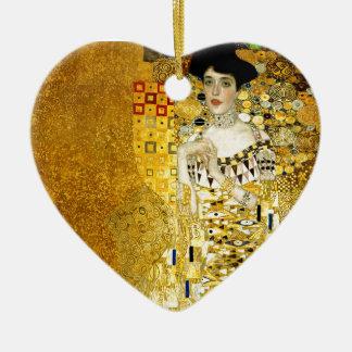 Adele Bloch-Bauer I by Gustav Klimt Art Nouveau Double-Sided Heart Ceramic Christmas Ornament