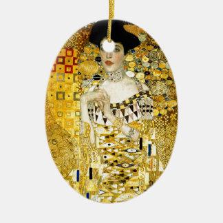 Adele Bloch-Bauer I by Gustav Klimt Art Nouveau Double-Sided Oval Ceramic Christmas Ornament