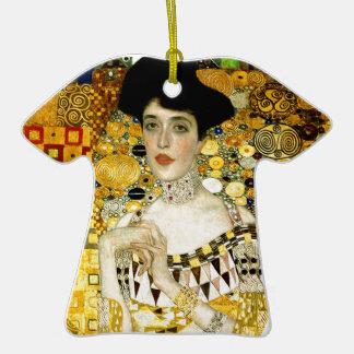 Adele Bloch-Bauer I by Gustav Klimt Art Nouveau Double-Sided T-Shirt Ceramic Christmas Ornament