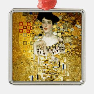 Adele Bloch-Bauer I by Gustav Klimt Art Nouveau Square Metal Christmas Ornament